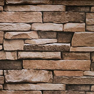 """Stone Peel and Stick Wallpaper - Use as Contact Paper, Wall Paper, or Shelf Paper - Easily Removable Wallpaper - Brick Wallpaper - 17.71"""" Wide x 177"""" Long - 21.77 sq. ft. (1)"""
