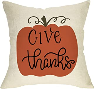 Softxpp Give Thanks Pumpkin Decoration Fall Farmhouse Throw Pillow Cover Thanksgiving Day Autumn Harvest Sign Home Decor Cushion Case Decorative for Sofa Couch 18