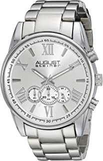 August Steiner Men's Silver Dial Stainless Steel Band Watch - AS8163SS
