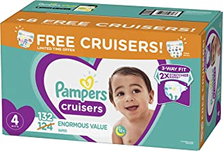 Diapers Size 4, 132 Count - Pampers Cruisers Disposable Baby Diapers, Enormous Pack, Plus Bonus Diapers