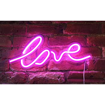 """Isaac Jacobs 17.5"""" x 7"""" inch LED Neon Pink """"Love"""" Wall Sign for Cool Light, Wall Art, Bedroom Decorations, Home Accessories, Party, and Holiday Decor: Powered by USB Wire (Love)"""