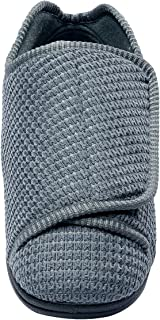 Mens Extra Extra Wide Slippers - Swollen Feet - Adjustable Closure - Steel 11