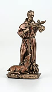 Veronese Design 3 3/8 Inch Saint Francis of Assisi Cast Resin Hand Painted Antique Bronze Finish Statue Home Decor