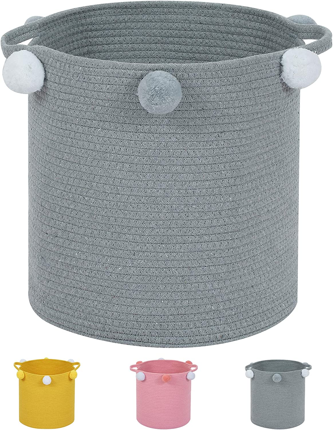 Enzk&Unity Woven Laundry Hamper Cotton Rope Basket with Decorative Coiled Basket with Pompoms for Kids Toys,Blankets, Nursery, Bedroom, Grey