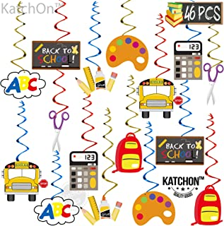 Hanging Back to School Decorations - Pack of 46 | Ceiling Hanging Classroom Decorations | Hanging Swirl Classroom Decorati...