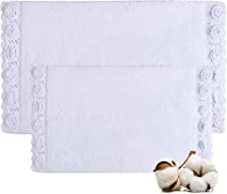 """Cotton Bath Rugs Size 21""""x34""""/17""""x24"""" Bathmat Water Absorbent and Machine Washable (White)"""
