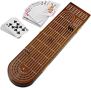 Juegoal Wood Cribbage Board Game Set 3 Tracks with Metal Pegs, Cards, Storage Area