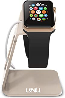 UNU Aluminum Apple Watch Stand Compatible with Apple Watch Series 5/ Series 4 /Series 3 /Series 2/ 44mm /42mm /40mm /38mm - Nightstand Mode Compatible Dock (Cable Not Included) - Champagne Gold