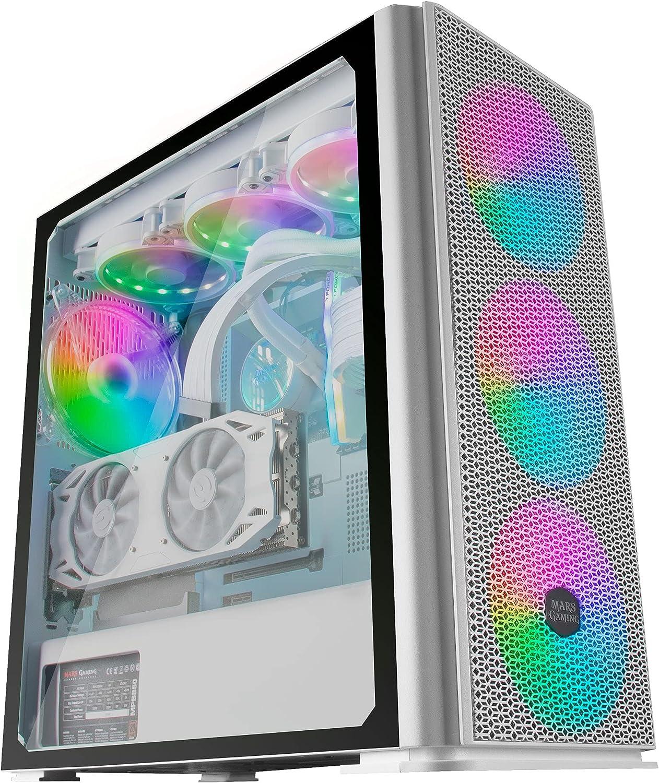 MARSGAMING MCPROW Blanco, Caja PC Gaming XL E-ATX, Cristal Templado, 4x Ventilador RGB 14cm