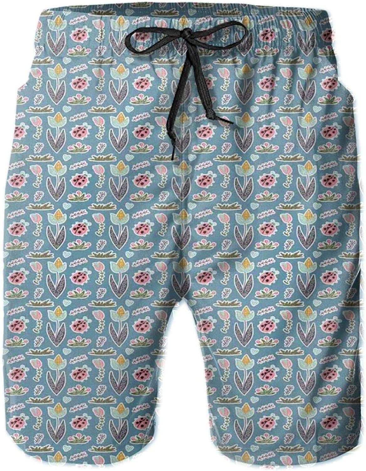 Doodle Forest Elements with Ladybugs Flowers and Thickets Ornamented with Curls Printed Beach Shorts for Men Swim Trucks Mesh Lining,XL