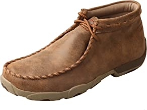 Twisted X Men's Leather Lace-Up Rubber Sole Moc Toe Driving Moccasins - Copper