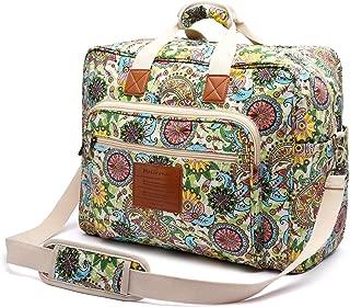 Women's Canvas Overnight Weekender Bag Carry On Travel Duffel Tote Bag Bohemian Flower (Green Flower)