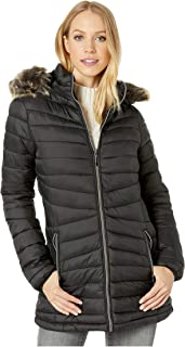 Long Polyfill Puffer Jacket with Faux Fur Trim Hood Black SM
