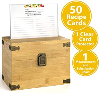 Zen Earth Premium Kitchen Recipe Box -Luxury Handcrafted Bamboo Wood Recipe Case With Card Holder Grooves -Great For 200+ 4x6