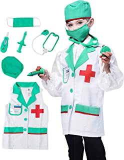 IKALI Kids Doctor Costume, Classic Lab Coats Pretend Play Outfit with Accessories (7pcs ) 3-4T