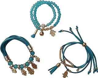 OMBEADS Evil Eye Bracelet for Women Set of 3 - Hamsa Bracelet - Protection Bracelets for Women with Hamsa Charm - Hand of ...