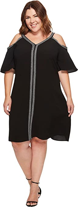 Plus Size Short Sleeve Cold-Shoulder Dress w/ Ribbon Trim