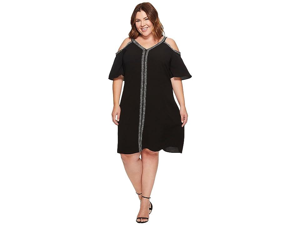 Vince Camuto Specialty Size Plus Size Short Sleeve Cold-Shoulder Dress w/ Ribbon Trim (Rich Black) Women