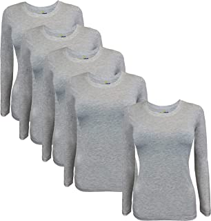 Natural Uniforms Women's Under Scrub Tee Crew Neck Long Sleeve T-Shirt 5-Multi Pack (Small, 5 Pack- Heather Charcoal)