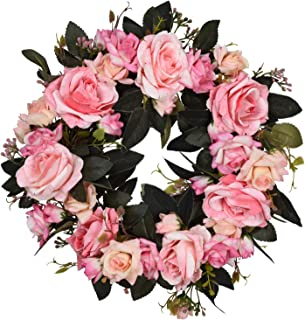 16 Inch Rose Floral Twig Wreath Handmade Artificial Flowers Garland Front Door Wreath