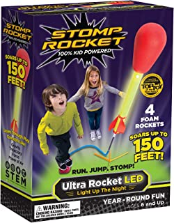 Stomp Rocket Ultra Rocket LED, 4 Rockets - Outdoor Rocket Toy Gift for Boys and Girls- Comes with Toy Rocket Launcher - Ages 6 Years and Up