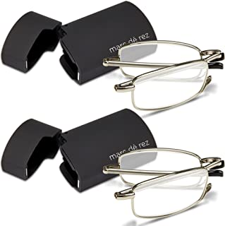 Marc De Rez Foldable Mini Reading Glasses 2 Pack - Flip Top Cases - Folding Prescription Readers For Men and Women