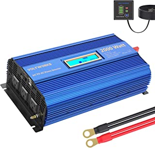 Power Inverter 2000w DC 12V to AC 120V Modified Sine Wave Inverter with LCD Display Remote Control 3AC Outlets Dual 2.4A U...