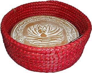 Handwoven Bread Roll Basket Lotus Terracotta Warming Tile Stone 11 Inch Width (Red)