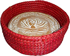 Handwoven Bread Roll Basket Lotus Terracotta Warming Tile Stone 11 Inch Width (Red)