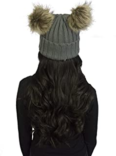 Knitted Women's Beanie with Faux Fur Pom Pom Ears