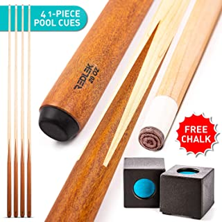 "REDLEK Pool Cue Set of 4 | 1-Piece 58"" Pool Sticks with Pool Chalk 