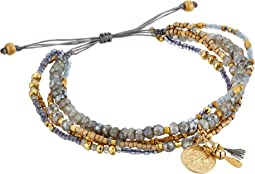 Chan Luu - Beaded Pull Tie Bracelet with Hanging Coin and Tassel