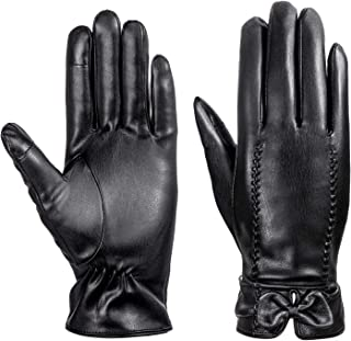 Leather Gloves, MEZETIHE Womens Gloves 2 Fingers Touch Screen Warm Fleece Lined Winter Driving Gloves with Bow