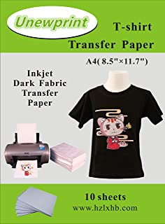 Heat Transfer Paper for Dark Fabric, Inkjet Heat Transfer Paper for t-Shirts, Customer Pack 10 Sheets, by Unewprint (8.3