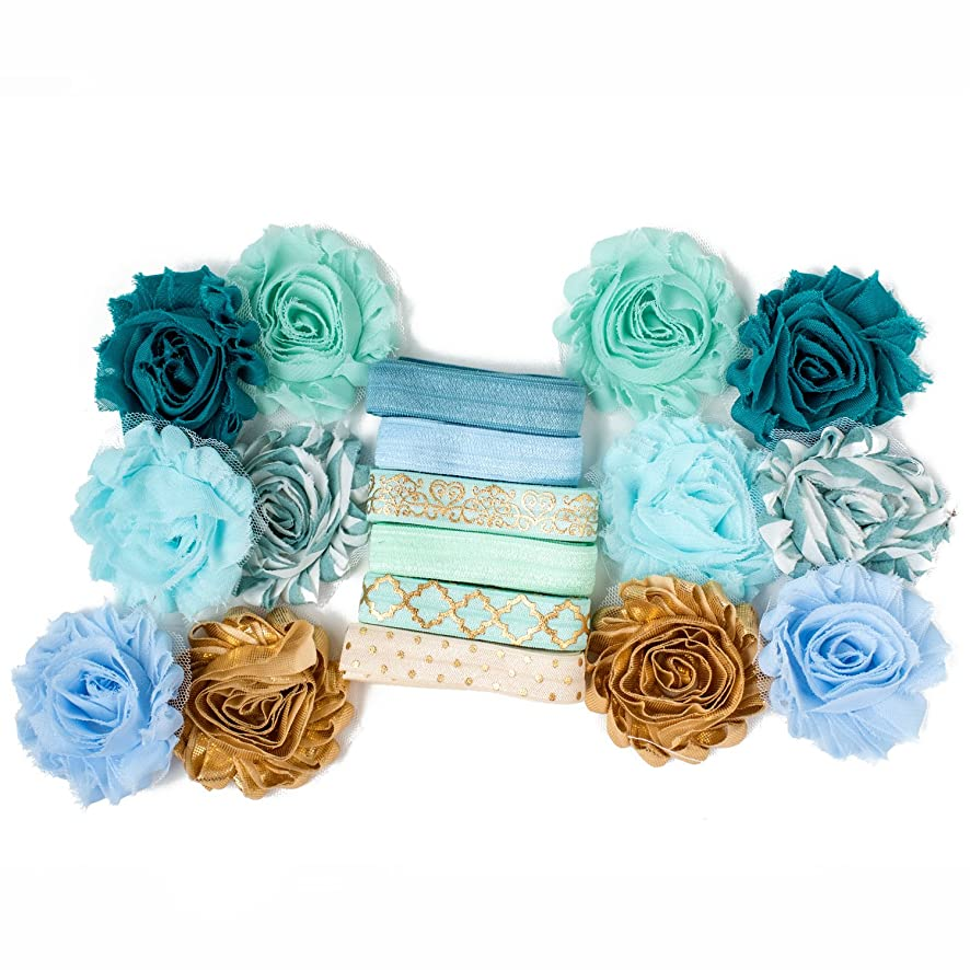 Glass Slipper : Baby Blue Aqua & Gold Heart Damask Headband Kit Makes 6 or 12 Hair Pieces : Shabby Chiffon Craft Roses FOE Fold Over Elastic : Princess Parties & Baby Showers