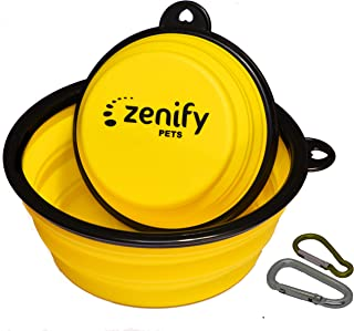 Zenify Dog Bowl Food & Water Feeder 2 Pack - Extra Large 1000ml 17.8cm & Small 400ml 12.7cm Collapsible Portable Foldable ...