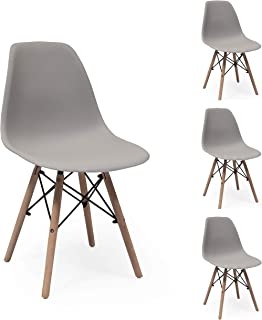 Juego de 4 sillas de Comedor MAX Tower inspiración Silla Tower - Gris Arena