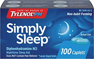 Simply Sleep Nighttime Sleep Aid Caplets with 25 mg of Diphenhydramine HCl, Non-Habit Forming Sleep Aid for Adults, 100 ct...