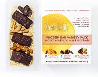 Smart for Life Low Sugar Protein Bar Variety Pack, Caramel Almond, Chocolate & Peanut Butter Chocolate, 18 Ct (18 CT Variety Pack)