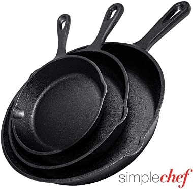 "Simple Chef Cast Iron Skillet 3-Piece Set - Best Heavy-Duty Professional Restaurant Chef Quality Pre-Seasoned Pan Cookware Set - 10"", 8"", 6"" Pans - Great For Frying, Saute, Cooking, Pizza & More,Black"