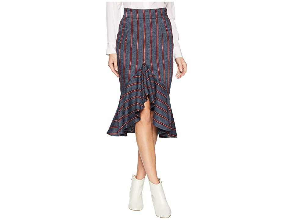 MOON RIVER Woven Skirt (Navy Multi) Women