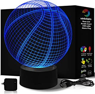 Basketball Lamp 7 Color- 3D Illusion Night Light- A Great Basketball Gift for Boys -LED Does Not Get Hot- Comes with Mains Plug USB Cable- Basketball Light Up- Larger Size 218mm x 188 by rainbolights