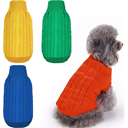 XXS 6 Pieces Dog Hoodie Dog Clothes Sweaters with Hat Pet Winter Clothes Warm Hoodies Coat Sweater for Small Dogs Chihuahua