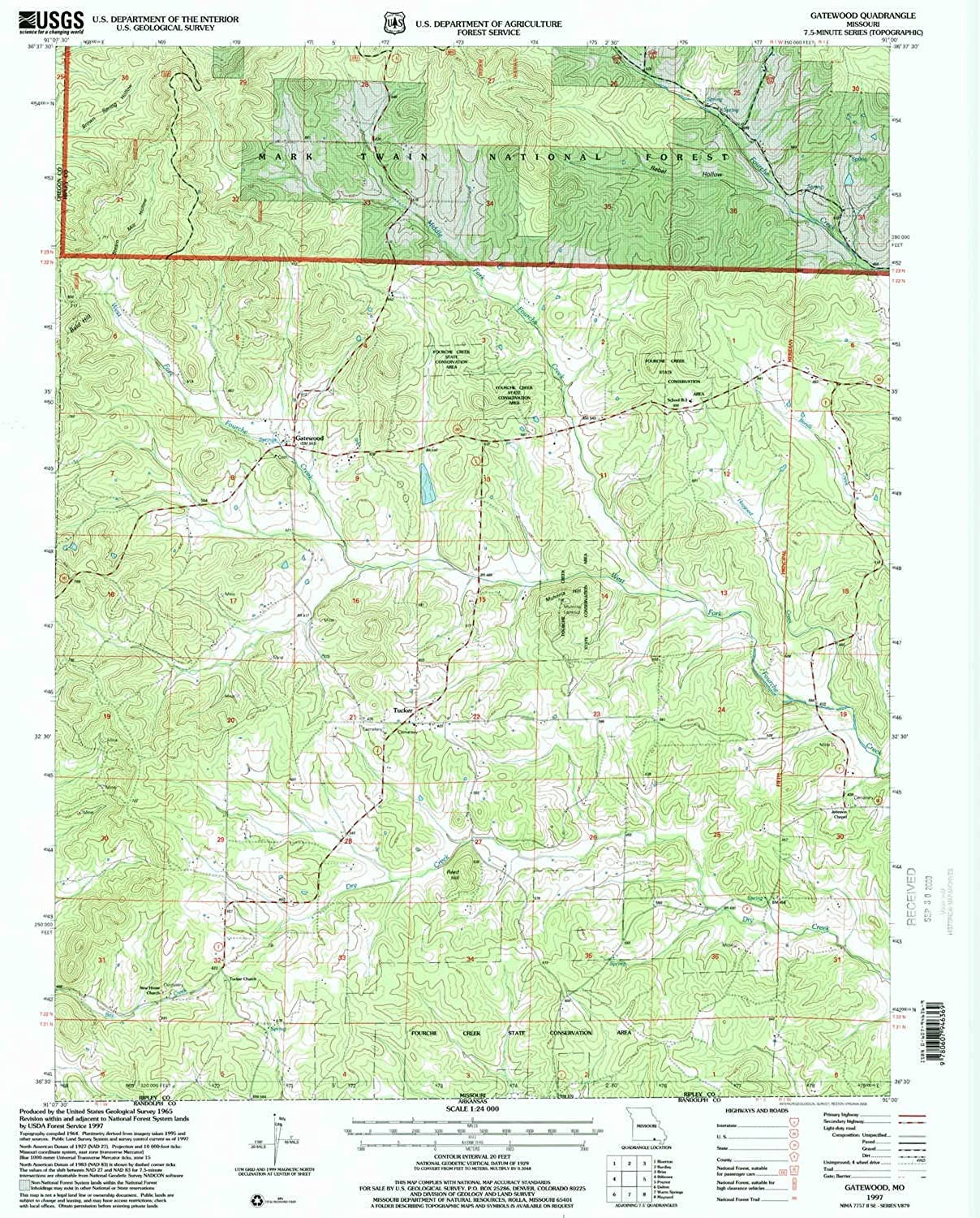 Gatewood MO topo map, 1 24000 Scale, 7.5 X 7.5 Minute, Historical, 1997, Updated 2000, 26.8 x 22 in