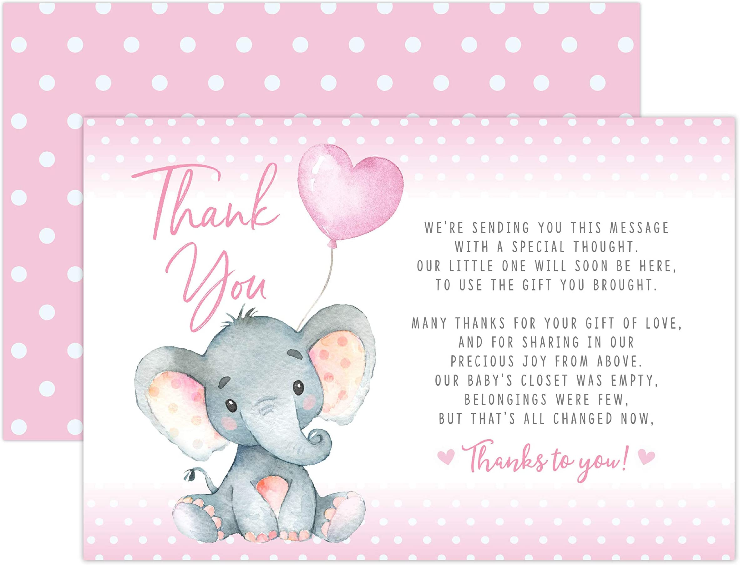 elephant pink pink and white pink chevron baby shower girl Elephant Thank You Card Printable thanks card instant download digital file