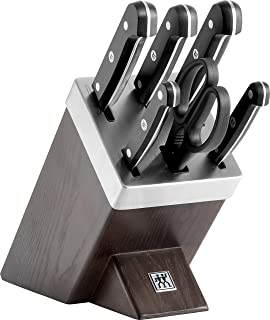 ZWILLING Bloc de Couteaux avec Auto-Affûtage, 7 Pièces, Bloc en Bois, Couteaux & Ciseaux en Acier Inoxydable Spécial/Manch...