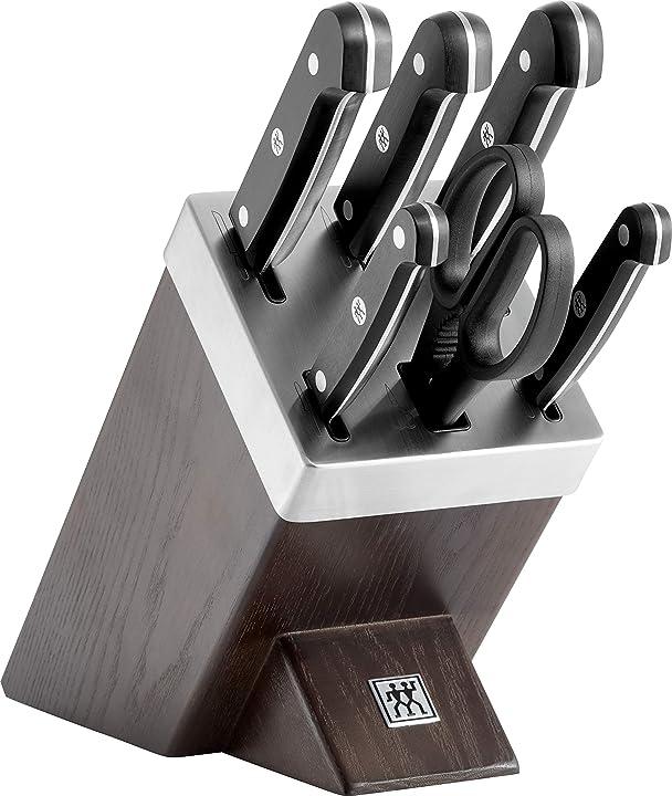 Ceppo in legno di coltelli autoaffilante, 7 pezzi, coltelli e forbici in acciaio inox /impugnature in plastica 36133-000-0