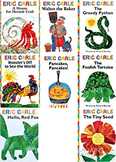 The Eric Carle Library Featuring 8 Classic Board Books Boxed Set [The Greedy Python, The Foolish Toroise, Rooster's Off to See the World, Walter the Baker, A House for Hermit Crab, Pancakes Pancakes!, Hello Red Fox, The Tiny Seed]