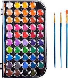48 رنگ آبرنگ ، مجموعه رنگ آبرنگ قابل شستشو با 3 قلم مو و پالت ، مجموعه رنگ های رنگی غیر سمی برای کودکان ، بزرگسالان ، مبتدیان و هنرمندان ، به بحث و گفتگو بپردازید