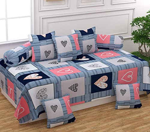 Festival Home Furnishings Cotton Fabric 5D Diwan Covers Set of 1Bedsheet 2Bolster Covers 5 Cushion Covers Hearts